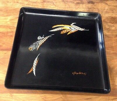 VTG GEORGES BRIARD FEATHER SQUARE SERVING PLATTER TRAY PLATE mid century
