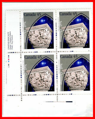 Canada Stamp Full Set of 4 Mint Plate Blocks  #1585 Christmas-Capital Sculptures