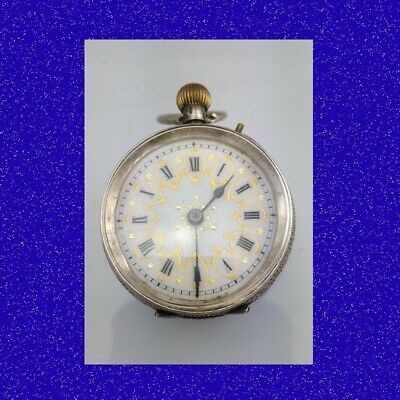 Stunning Silver and PolyChrome Enamel Swiss Edwardian  Fob Watch 1914