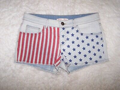 6e69aecbaa25 No Boundaries NOBO Womens Patriotic Flag Denim Shorts Juniors 15 Fringed  EUC #52