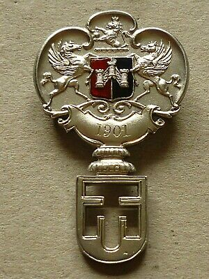 Unknown Antique Hallmarked Silver Badge Odell Key Exeter City Coat Of Arms 1905