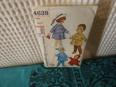 1960s Simplicity Toddler Coat & pants sewing pattern  4639 3/22 breast