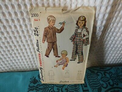1950s Simplicity Toddler Overalls & Jacket sewing pattern  2300 3/22 breast