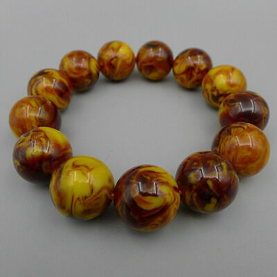 Bracelet Bangle Natural Amber Beeswax Handmade Jewelry Charm Round Beads Crafts