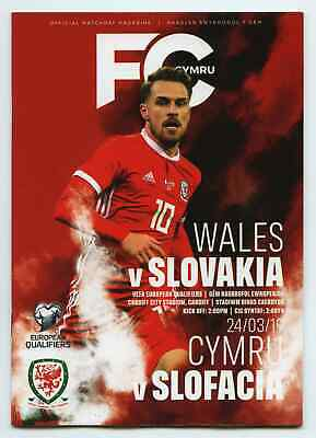 WALES v SLOVAKIA - Football Programme - 24th March 2019 - European Championships