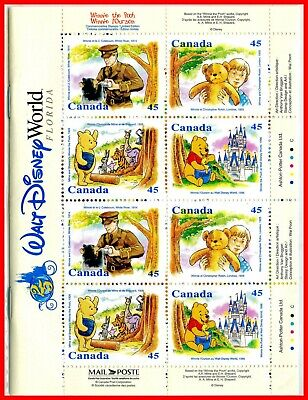 Canada Stamp Mint Full Booklet(BK194)  #1621c(1618-21) - Winnie the Pooh (1996)