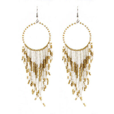 Women Retro Bohemian Ethnic Wind Earrings Long Style Rice Beads Fashion Earrings