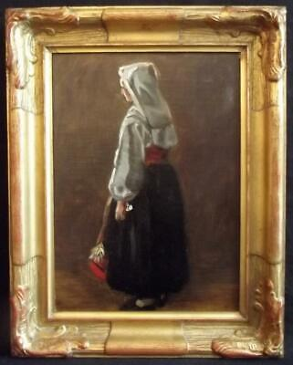 MALTA ? ITALY? Antique Oil Painting Portrait of a Lady in Traditional Dress 1880