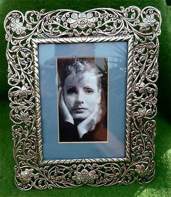 SUPER INDIAN PIERCED 800 SILVER PHOTO FRAME c1900 - GOOD SIZE - 11.24ozt