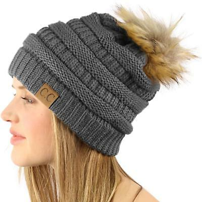 e574bff8b UNISEX WINTER CHUNKY Soft Stretch Cable Knit Slouch Beanie Ski Hat ...