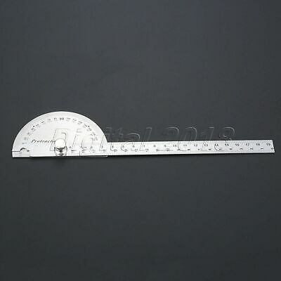 180 Degree Stainless Steel Protractor 190mm Angle Finder Carpenter Woodworking