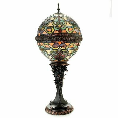 "Tiffany-Style Empress Orb 27"" Stained Glass Table Lamp Ivory"