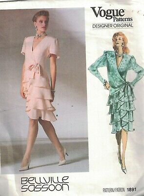 1891 Vogue Sewing Pattern Misses Lined Dress Ruffled Tiered Skirt Bellville oop