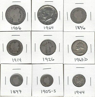 Nine Various 90% Silver U.s. Coins - Circulated - Nice Mix Of Silver Coins
