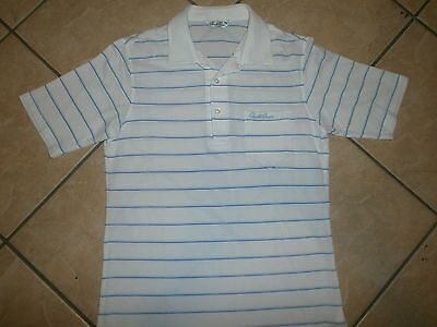 ARNOLD PALMER GOLF POLO SHIRT Embroidered Signature Pocket Renown Blue Stripes
