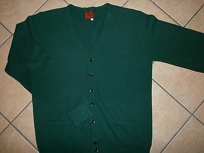 vtg KINGS ROAD CRADIGAN SWEATER Green With Pockets Sears Acrylic Knit 2X/XL