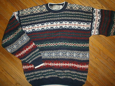 vtg 80s 90s COTTON TRADERS COSBY Knit Party Striped Geometric MENS LARGE