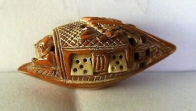 Very Detailed Vintage Antique Chinese Carved Hediao Seed Tiny Boat