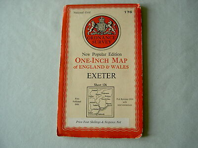 Ordnance Survey OS One-Inch Map Sheet 176: Exeter 1946