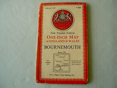Ordnance Survey OS One-Inch Map Sheet 179: Bournemouth 1947
