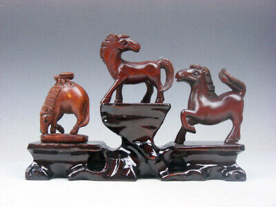3 Japanese Boxwood Hand Carved *Horse* Netsuke w/ Wooden Stand #03161901