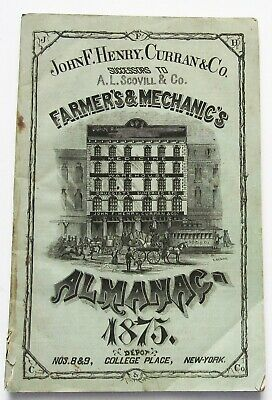 1875 Farmers and Mechanics Almanac A.L. Scoville Co. Decent Condition Old 1800s