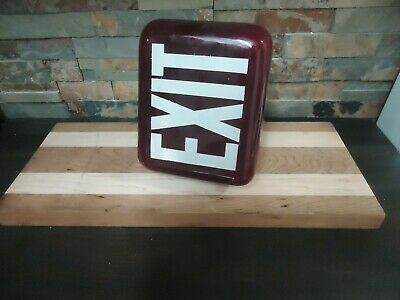 Vintage Glass Arrow Head Exit Sign-Ruby Red Glass-Office/Hotel