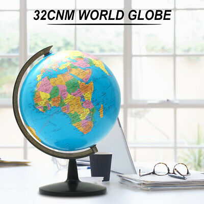 32cm Rotating World Map Globe Desktop Home Decor Geography Earth Kids