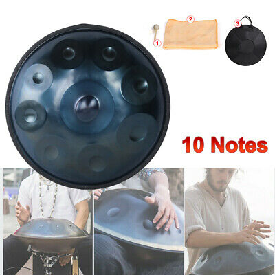 "Professional 10 Notes Hand Pan 22"" Handpan Hand Drum Carbon Steel Blue with Bag"