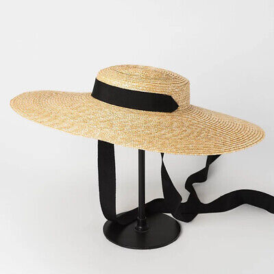 Women Wheat Straw Exquisite Gift Casual Flat Sun Hat Summer Wide Brim Ribbon Tie