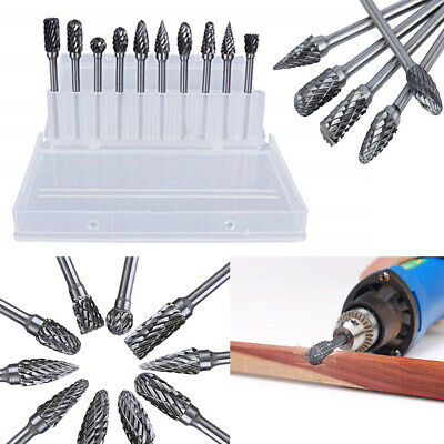 10x Tungsten Head Carbide Burrs For Rotary Drill Die Grinder Durable Carving Bit