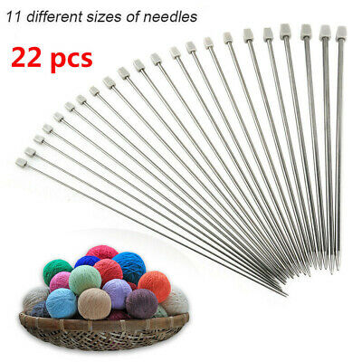 Set of 22pcs Stainless Single Pointed  Sewing Knitting Needles Tool Kits 2-8mm.