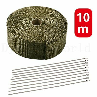 10M High Temp Titanium Heat Wrap Exhaust Manifold Gold Tape + 10 Cable Ties 30CM