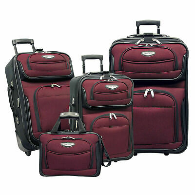 Traveler Choice Red Amsterdam 4-Piece Expandable Wheel Luggage Suitcase Tote Set