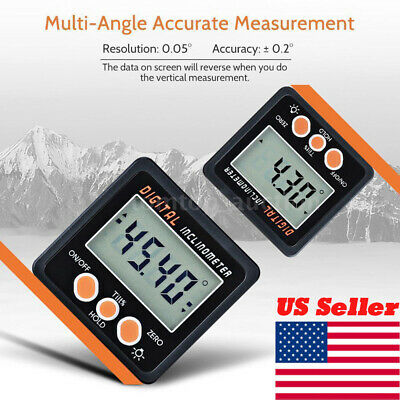 US Mini LCD Digital Inclinometer Protractor Bevel Box Angle Gauge Magnet Base