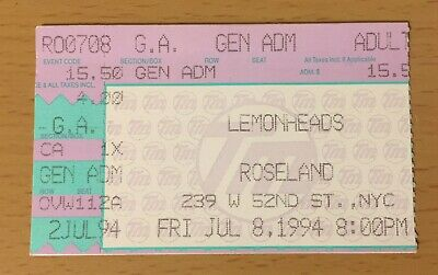 1994 The Lemonheads New York City Concert Ticket Stub It's A Shame About Ray