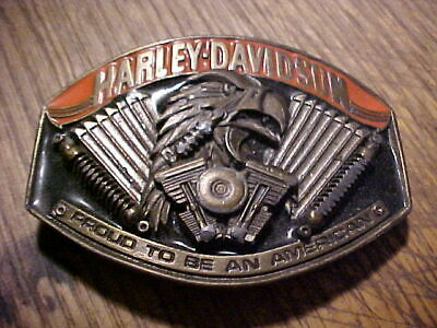 Vintage Harley Davidson Belt Buckle Proud To Be A American,1990