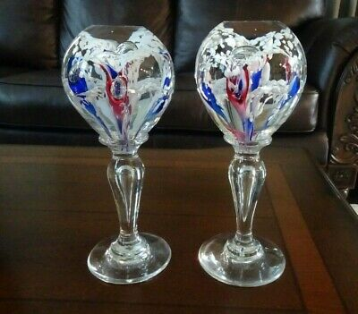 Pair RARE Millville MANTEL ORNAMENT Footed PAPERWEIGHT Glass OBELISKS Faceted