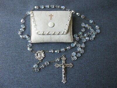 Antique detailed crucifix faceted crystal rosary in marocco leather Frano pouch