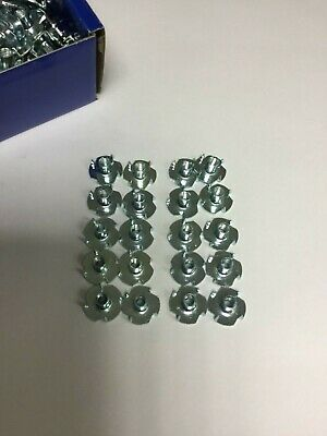 M6 x 9mm 4 PRONGED TEE NUT, BZP SMALL NUTS, FURNITURE, SHOP FITTING- 20 Pack