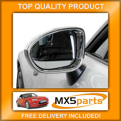 MX5 Polished Chrome Door Wing Mirror Surround Trims Mazda MX-5 ND Mk4 & RF 2015>