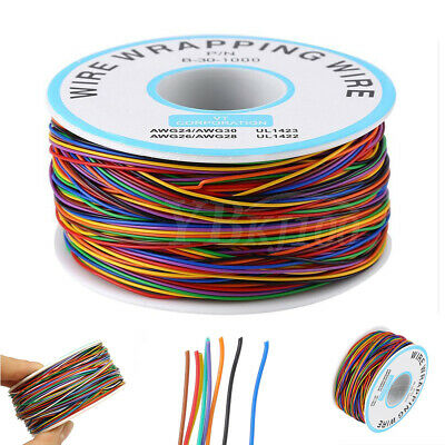 280M 30AWG Tin Plated Copper 8-Wire PCB Wrapping Wires Colored Test Cable Reel