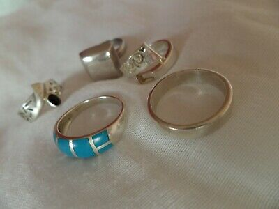 5 RINGS  925 Sterling Silver 33g-women's job lot-silver band RING