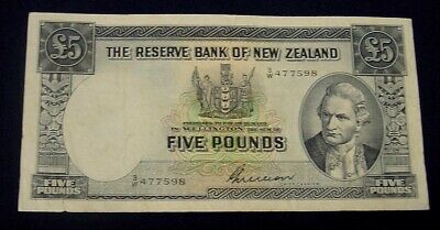 NEW ZEALAND. 1955-56 Five pound banknote, VF.
