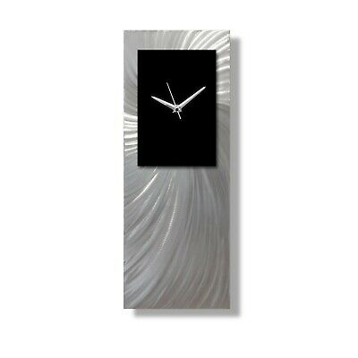 Silver Aluminium Modern Metal Wall Clock - UK Home Decor - Abstract