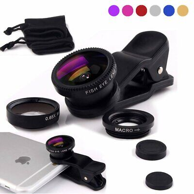 Wide Angle Micro Fish Eye Clip Cell Phone Camera Lens Universal For iPhone XR 8