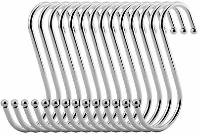 VIPITH 20 Pack 3.7 Inch S Hooks Black Rustproof Heavy-Duty Stainless Steel ,