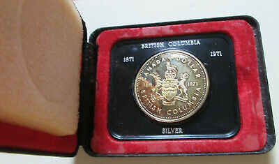 1971 Canada BC Cased Silver Dollar Coin.RAINBOW TONING MINT CASE (D321)