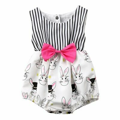 One Pieces Baby Girls Romper Bunny Bodysuit Easter Bunny Floral Jumpsuit