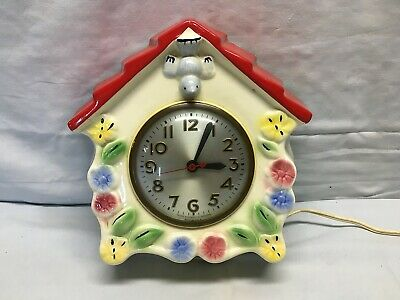 Vintage HULL Pottery SESSIONS Blue Bird House Red Riding Hood Kitchen Wall Clock